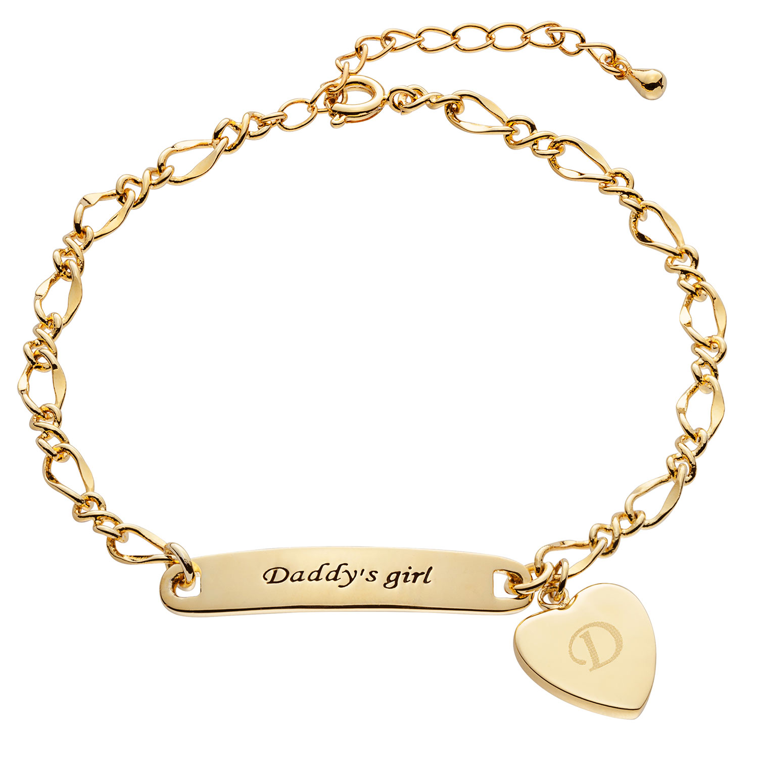 Goldtone Daddys Girl ID Bracelet with Engravable Heart Charm