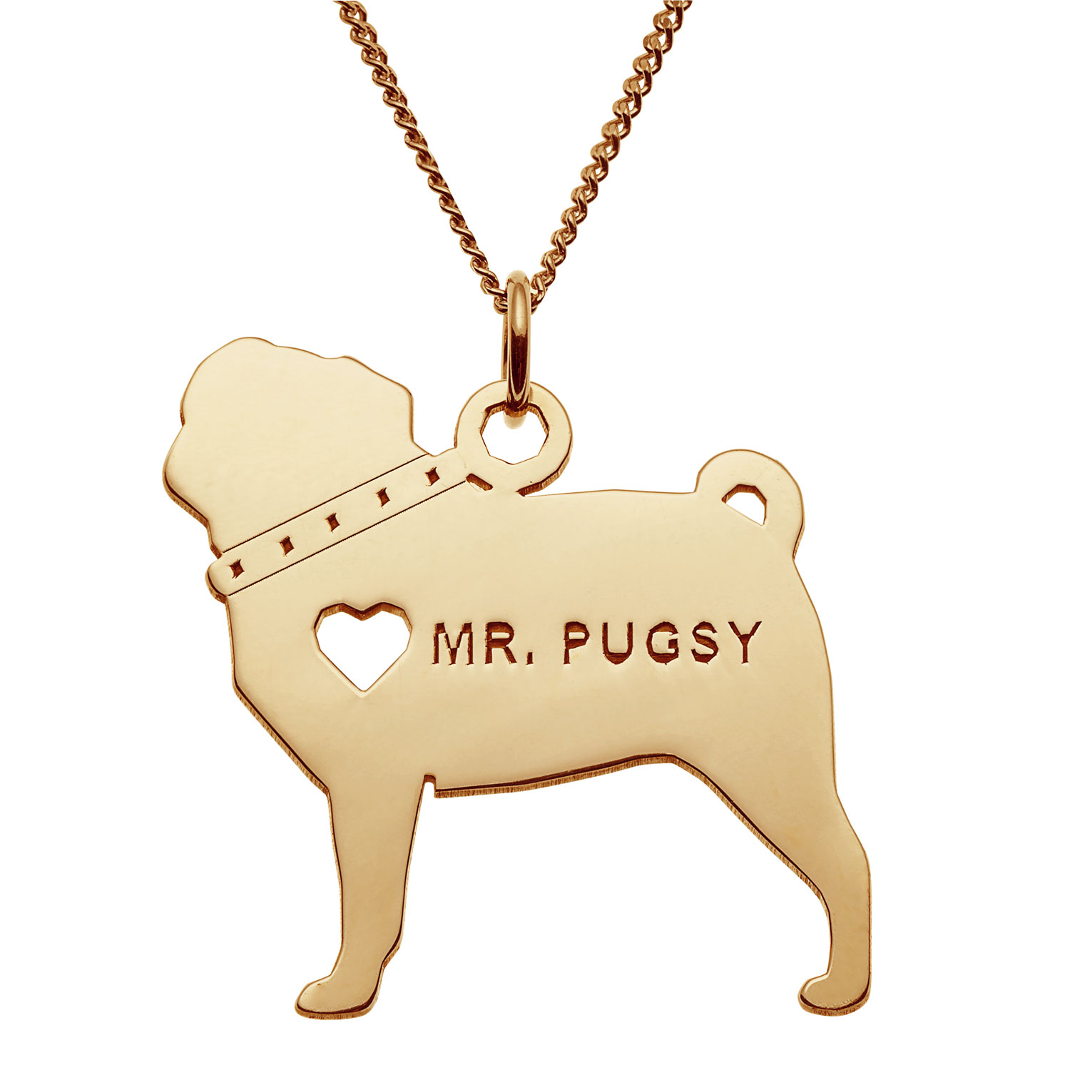 Gold Over Sterling Silver Pug Silhouette Necklace