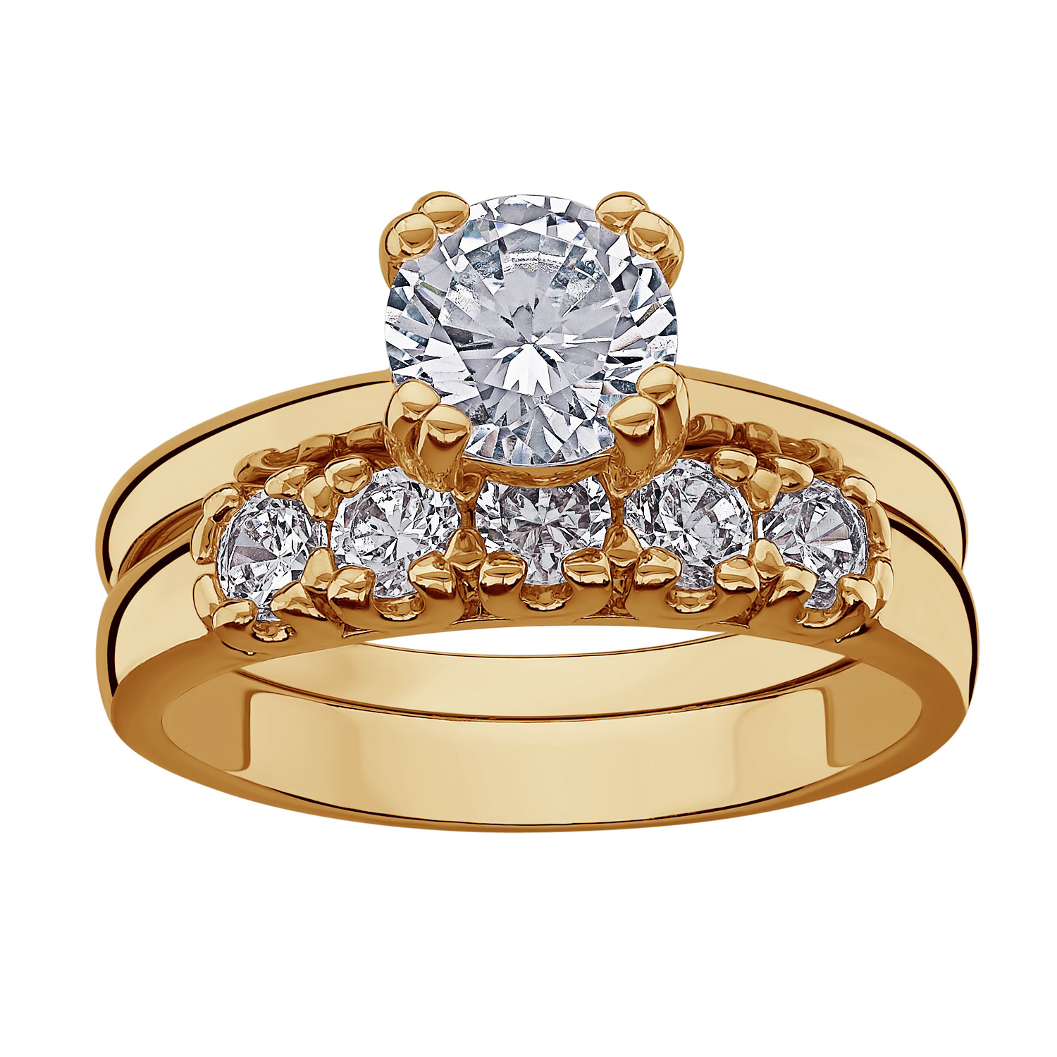 14k Gold Plated Cz 2piece Wedding Ring Set