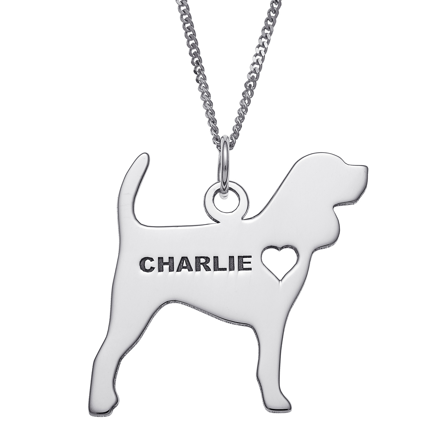 Beagle Dog Sterling Silver Engravable Necklace