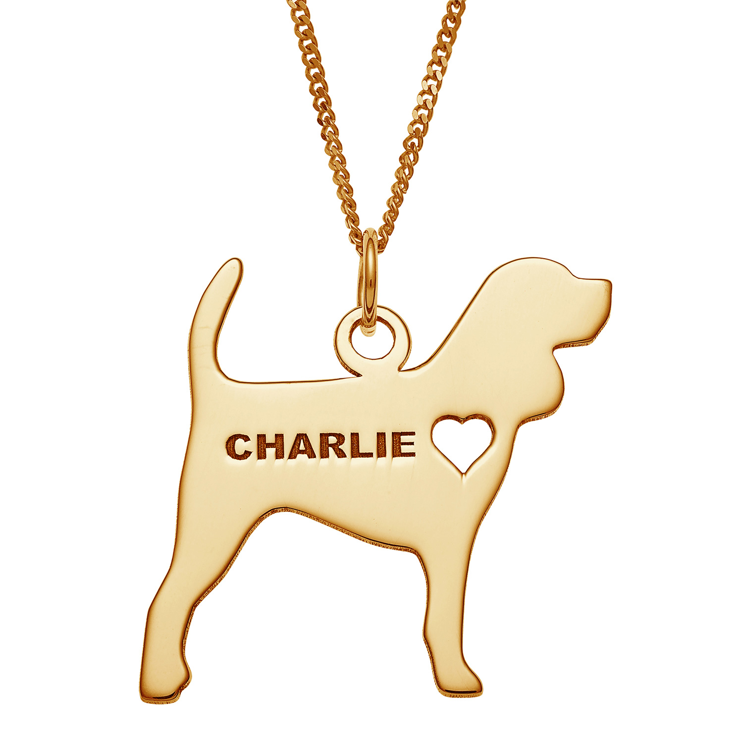 Gold Over Sterling Silver Engravable Beagle Dog Necklace