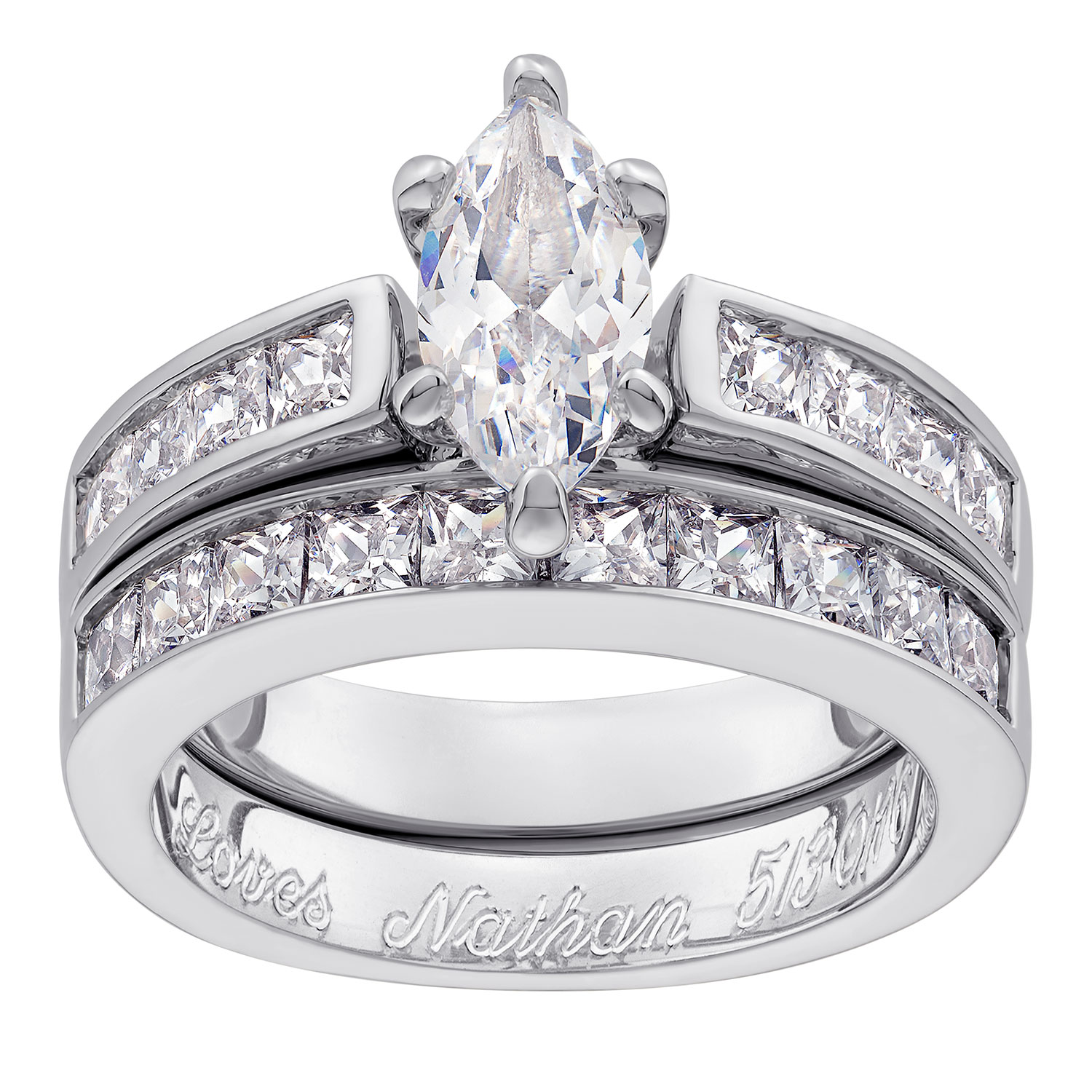 sterling silver marquise cz 2 piece engraved wedding ring set
